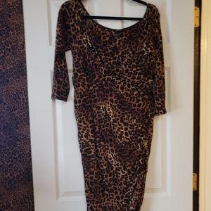 Leopard off the shoulder dress